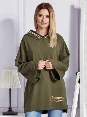 Bluza damska ze ściągaczami i złotym napisem khaki