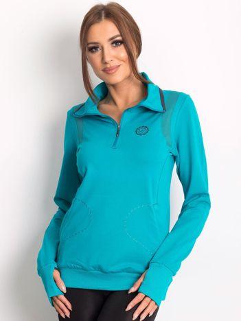 Bluza damska ze stójką i kieszeniami ciemnozielona