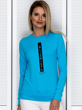 Bluza damska znak zodiaku BLIŹNIĘTA turkusowa