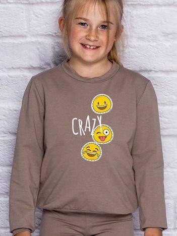 Bluza dla dziewczynki z motywem emoji kawowa