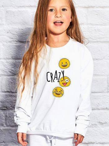 Bluza dla dziewczynki z napisem CRAZY biała