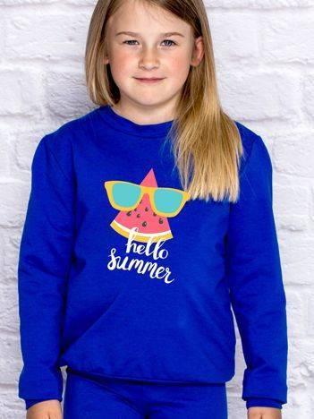 Bluza dla dziewczynki z napisem HELLO SUMMER ciemnoniebieska
