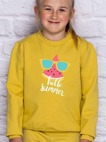 Bluza dla dziewczynki z napisem HELLO SUMMER miodowa