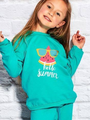 Bluza dla dziewczynki z napisem HELLO SUMMER zielona