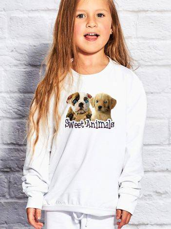 Bluza dla dziewczynki z pieskami biała