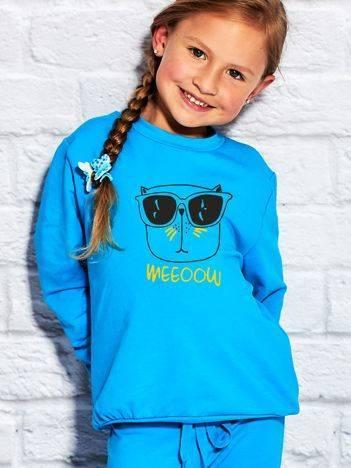 Bluza dla dziewczynki z zabawnym nadrukiem turkusowa