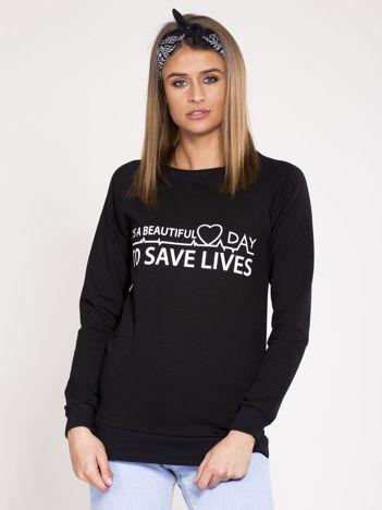 Bluza dresowa czarna z nadrukiem