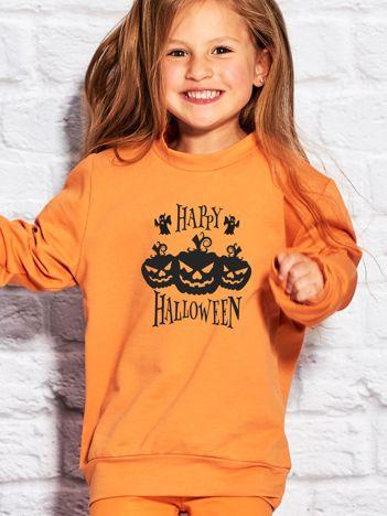 Bluza dziecięca HAPPY HALLOWEEN z dyniami pomarańczowa