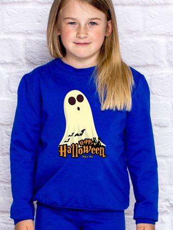 Bluza dziecięca Halloween z nadrukiem duszka kobaltowa