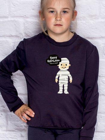 Bluza dziecięca z halloweenowym nadrukiem ciemnogranatowa