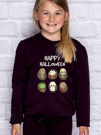 Bluza dziecięca z nadrukami postaci Halloween ciemnofioletowa
