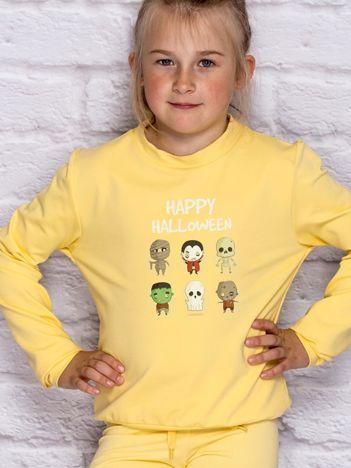 Bluza dziecięca z nadrukami postaci Halloween jasnożółta