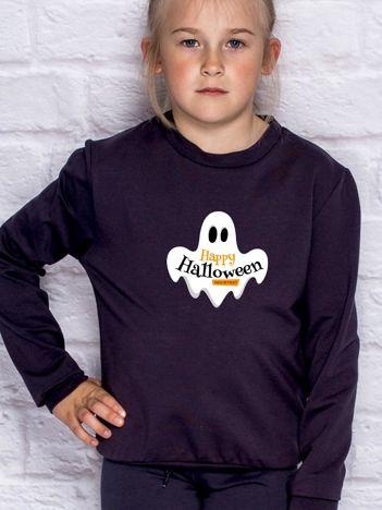 Bluza dziecięca z nadrukiem HAPPY HALLOWEEN ciemnogranatowa