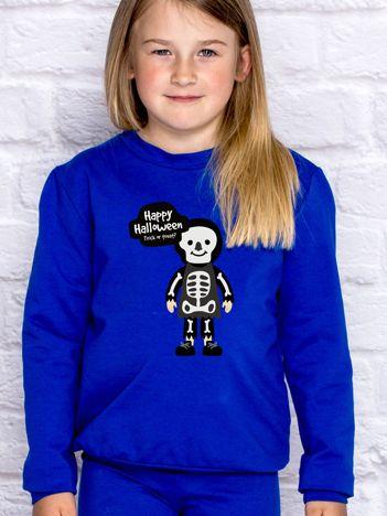 Bluza dziecięca z nadrukiem Halloween kobaltowa