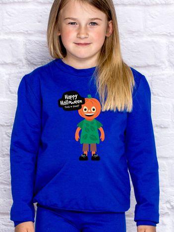 Bluza dziecięca z nadrukiem TRICK OR TREAT kobaltowa
