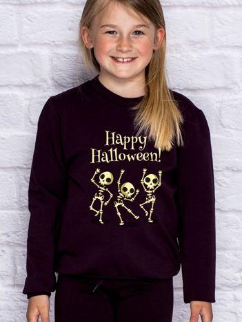 Bluza dziecięca z nadrukiem na Halloween ciemnofioletowa