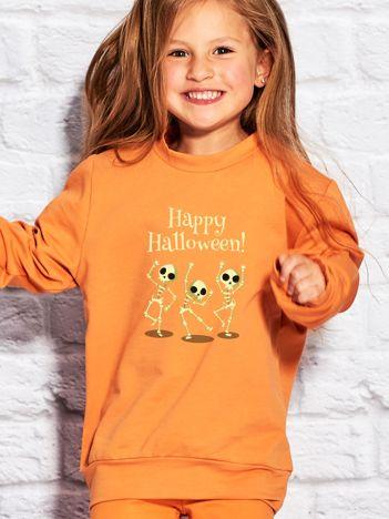 Bluza dziecięca z nadrukiem na Halloween pomarańczowa