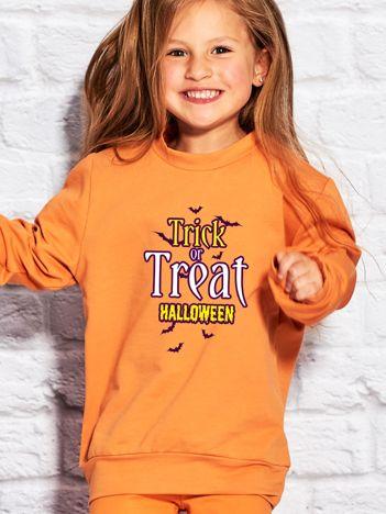 Bluza dziecięca z napisem TRICK OR TREAT pomarańczowa