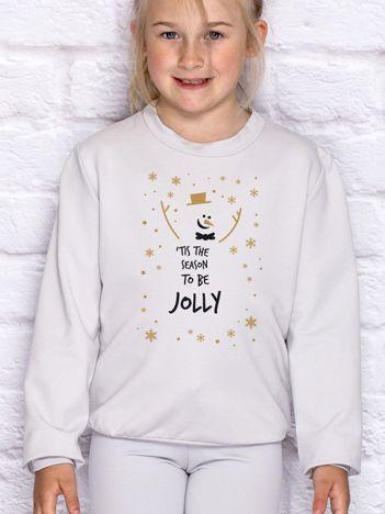 Bluza dziecięca ze świątecznym nadrukiem bałwana jasnoszara