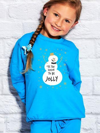 Bluza dziecięca ze świątecznym nadrukiem bałwana turkusowa