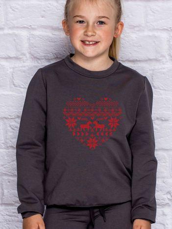 Bluza dziecięca ze świątecznym nadrukiem ciemnoszara