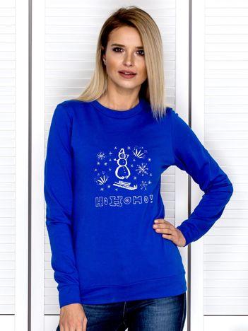Bluza kobaltowa z bałwankiem