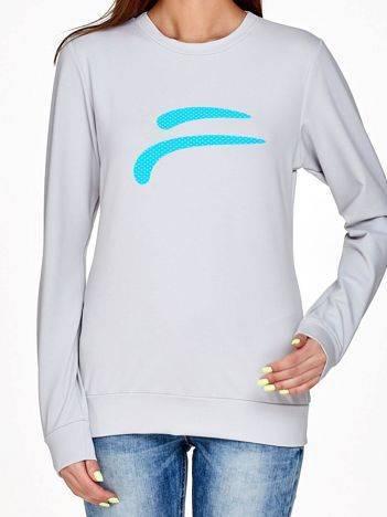 Bluza z fitnessowym nadrukiem jasnoszara