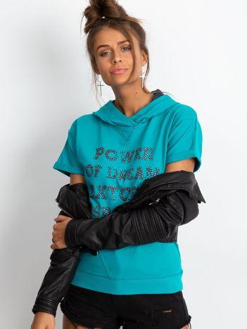 Bluza z krótkim rękawem i napisem POWER OF DREAMciemnozielona