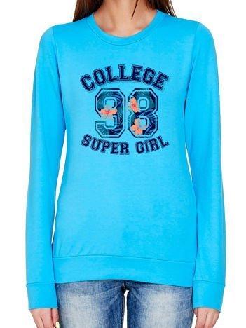 Bluza z napisem COLLEGE turkusowa