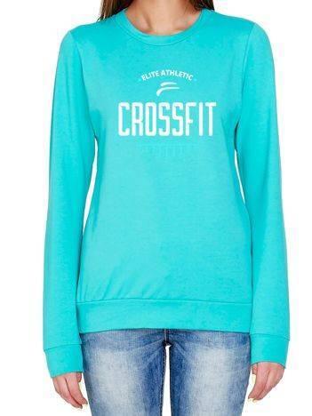 Bluza z napisem CROSSFIT turkusowa