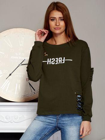 Bluza z napisem i rozcięciami khaki