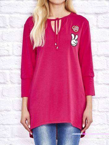 Bluza z naszywkami i wiązaniem przy dekolcie różowa