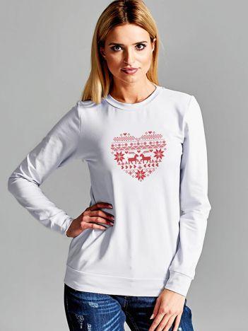 Bluza z norweskimi wzorami jasnoszara