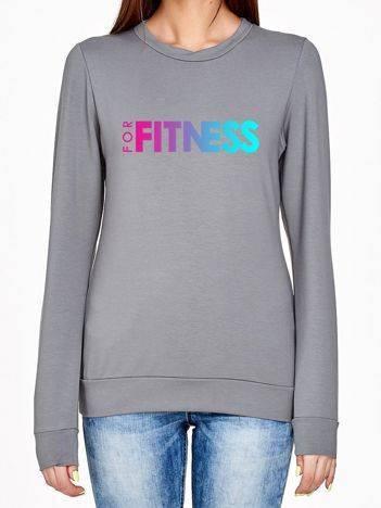 Bluza z ombre nadrukiem FOR FITNESS szara