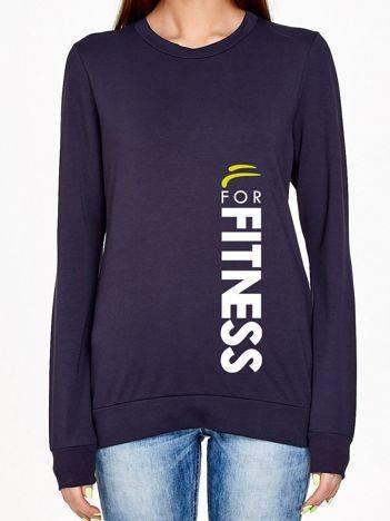 Bluza z pionowym napisem FOR FITNESS grafitowa