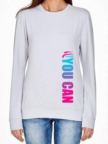 Bluza z pionowym ombre napisem YOU CAN jasnoszara