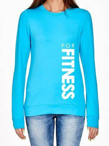 Bluza ze sportowym napisem FOR FITNESS turkusowa