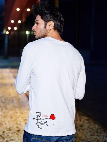 Bluzka biała męska I LOVE YOU z długim rękawem dla par