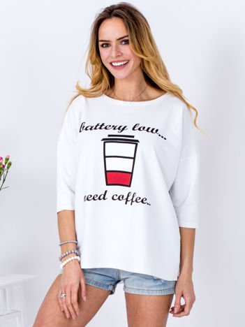 Bluzka biała z kawą