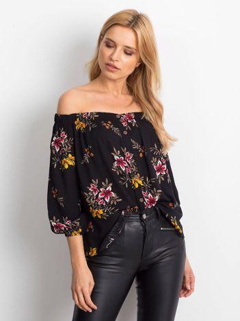 Bluzka czarna w kwiaty