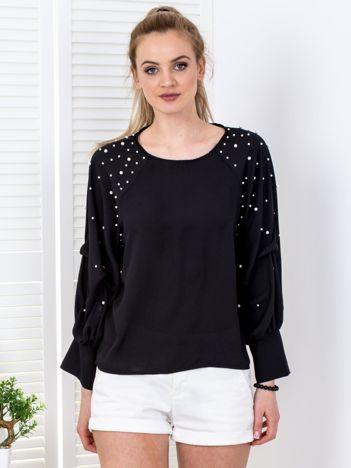 Bluzka czarna z drapowanymi rękawami i perełkami