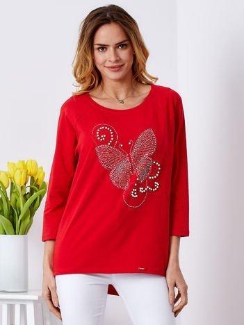 Bluzka czerwona z biżuteryjnym motylem