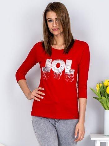 Bluzka czerwona z cekinowym napisem