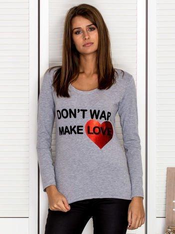 Bluzka damska DON'T WAR MAKE LOVE szara