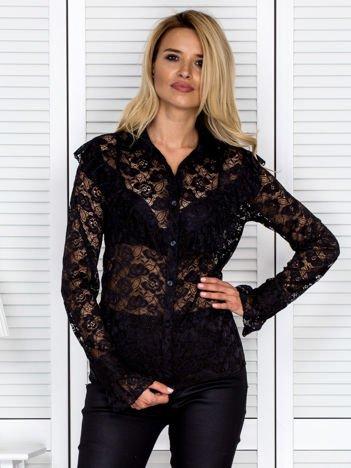 Bluzka damska koronkowa z falbankami czarna