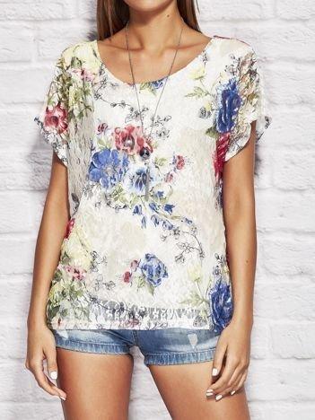 Bluzka damska koronkowa z motywem kwiatów beżowa