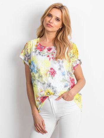 Bluzka damska koronkowa z motywem kwiatów żółta