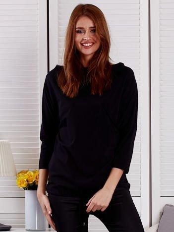 Bluzka damska oversize z kieszenią czarna
