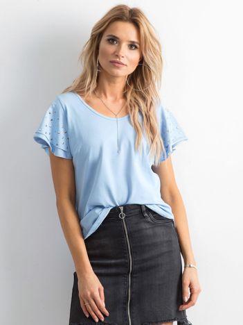Bluzka damska z aplikacją na rękawach niebieska