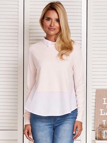 Bluzka damska z koszulą i suwakiem jasnoróżowa